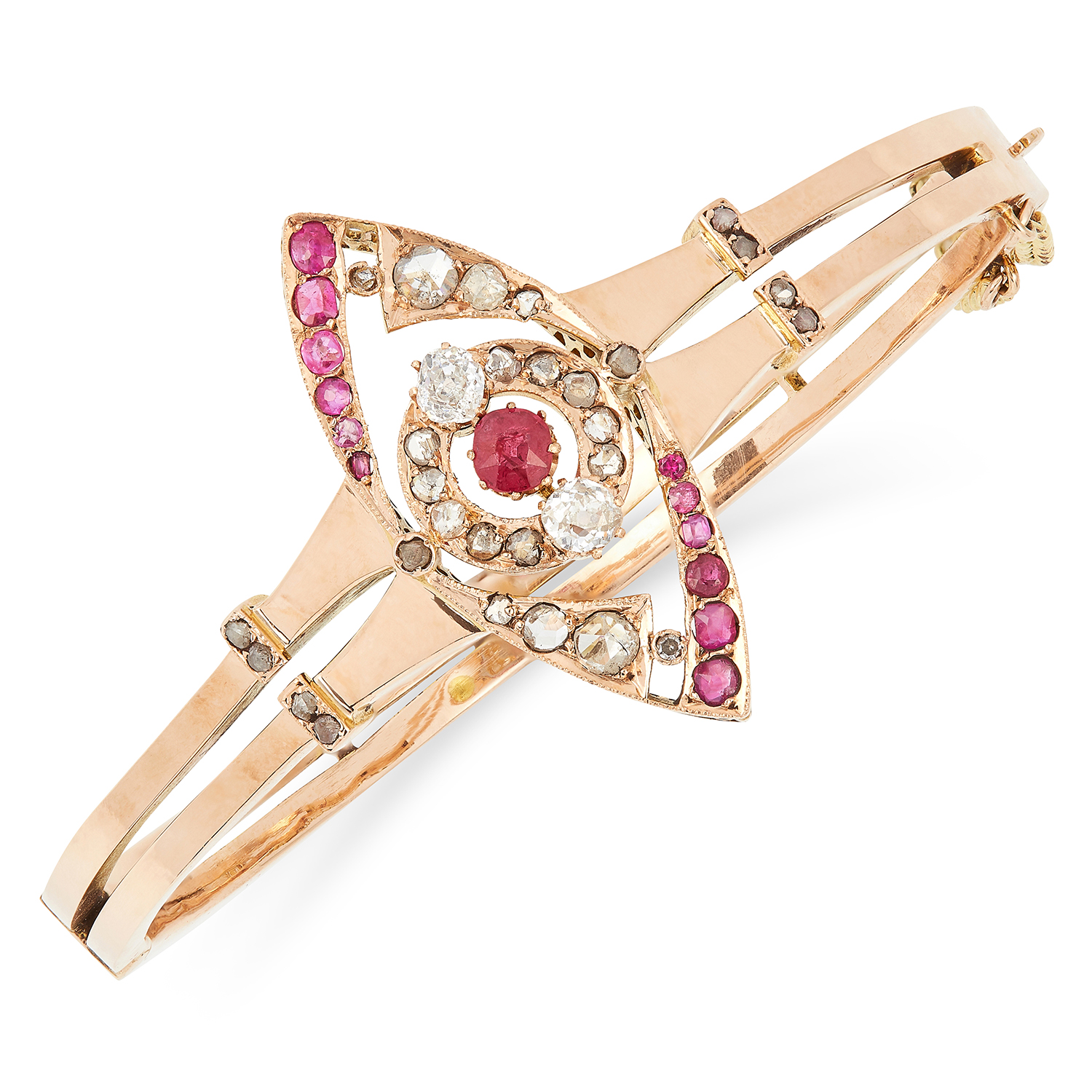 ANTIQUE RUBY AND DIAMOND BANGLE the marquise face is set with cushion cut rubies and old and rose