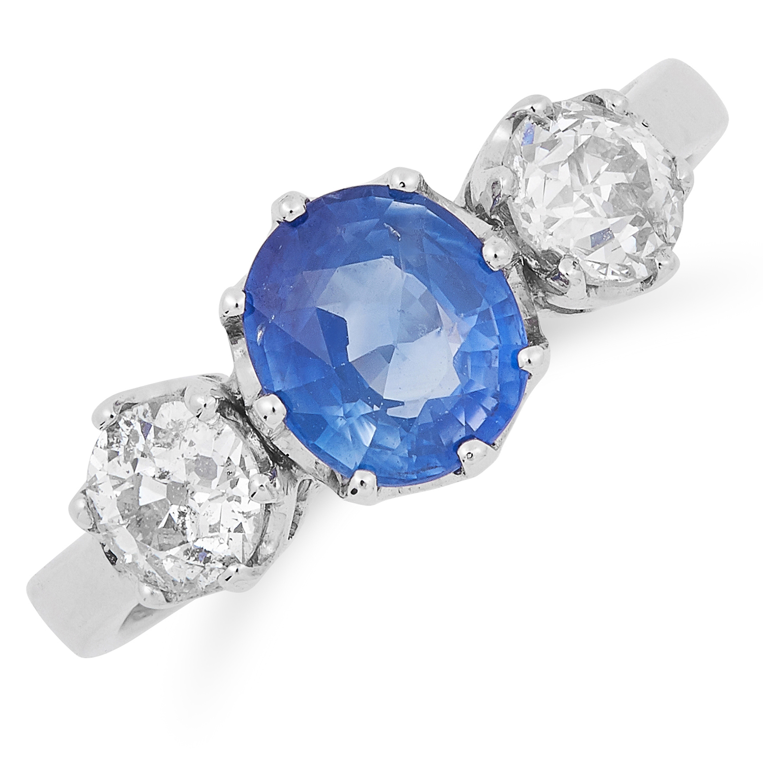 SAPPHIRE AND DIAMOND THREE STONE RING set with an oval cut sapphire of approximately 1.14 carats