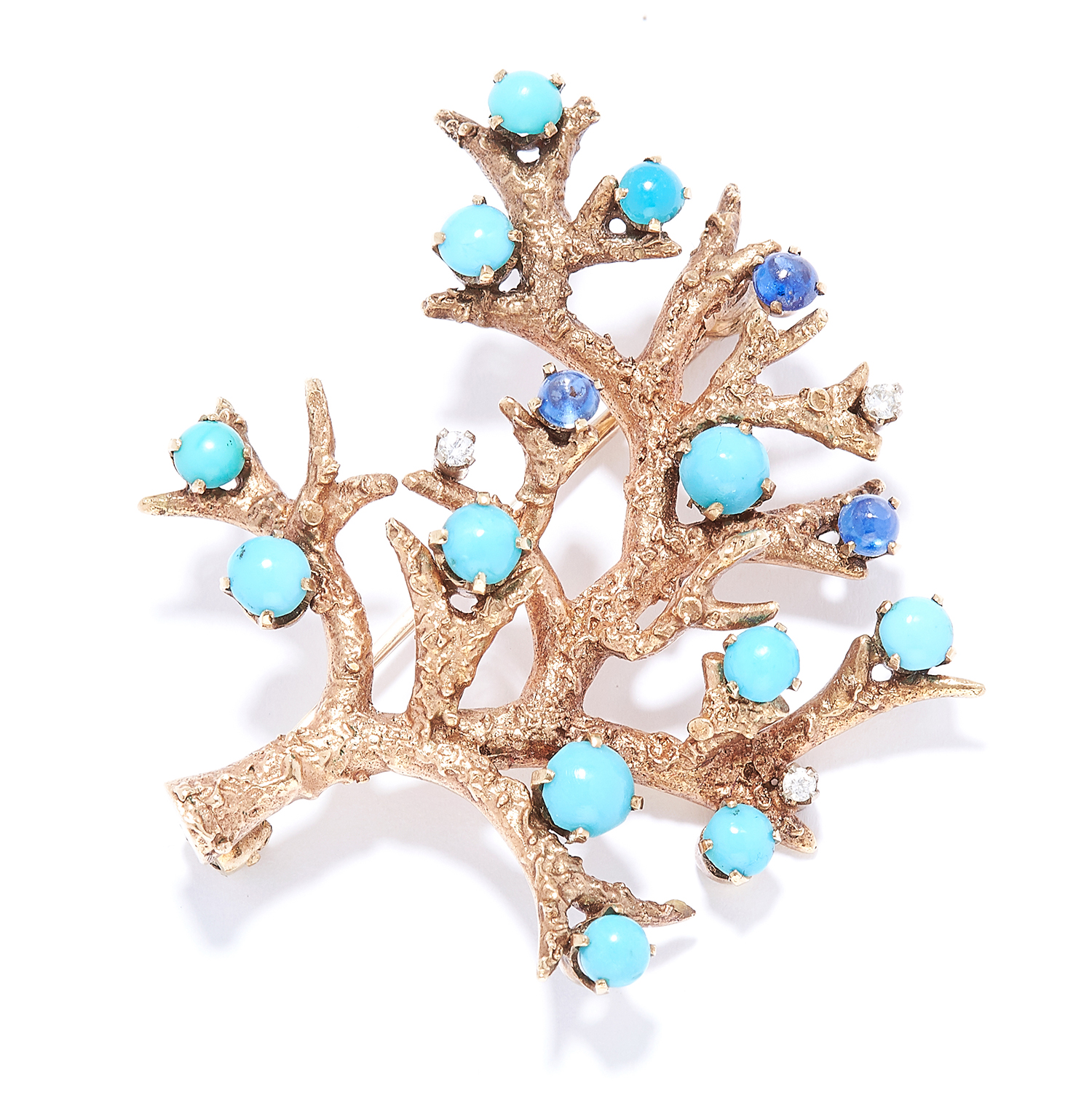 Los 56 - VINTAGE TURQUOISE, SAPPHIRE AND DIAMOND BRANCH BROOCH, H G MAUTNER, 1968 in the form of a branch set