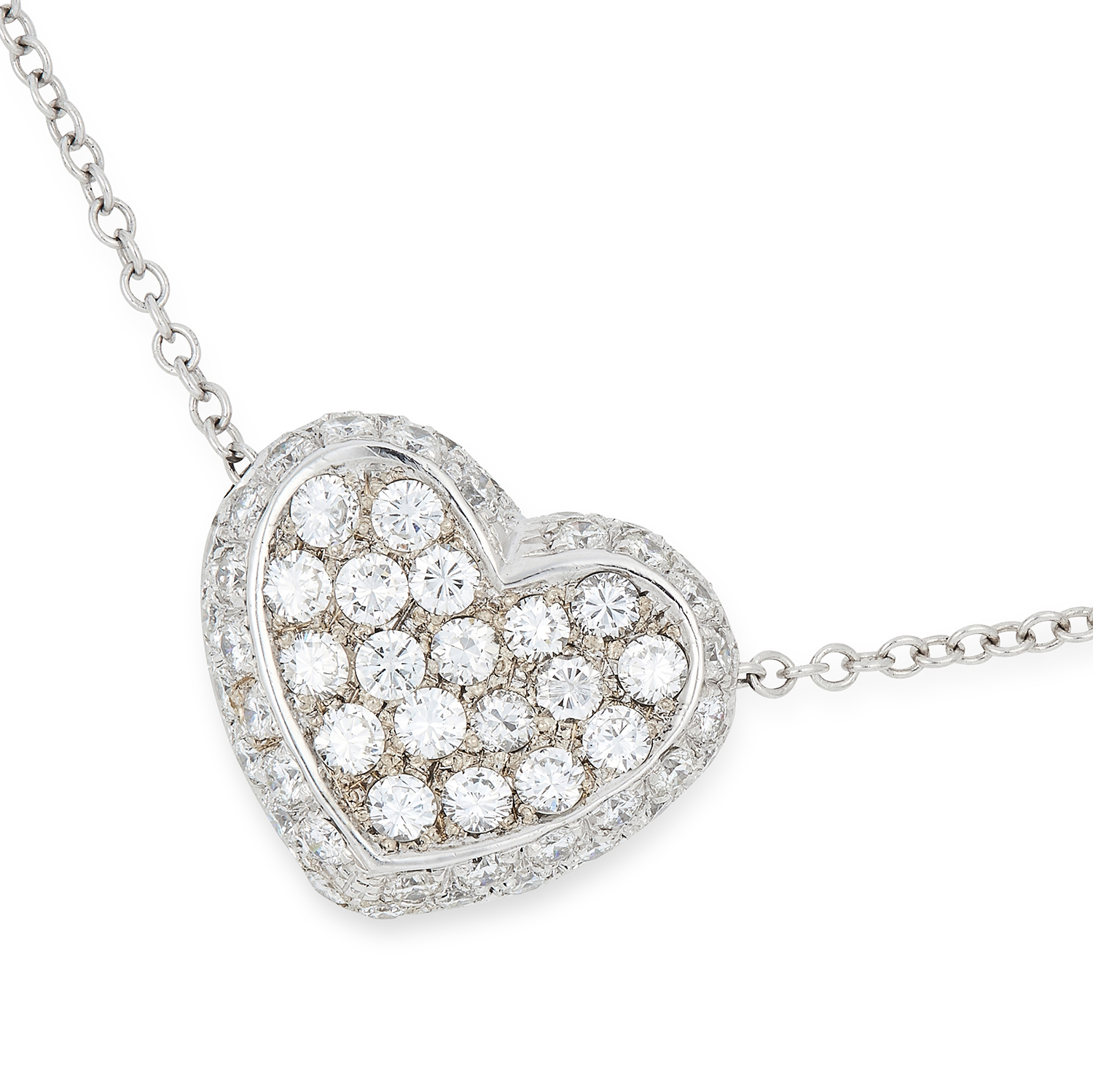 DIAMOND HEART PENDANT AND CHAIN the heart body jewelled with round cut diamonds totalling
