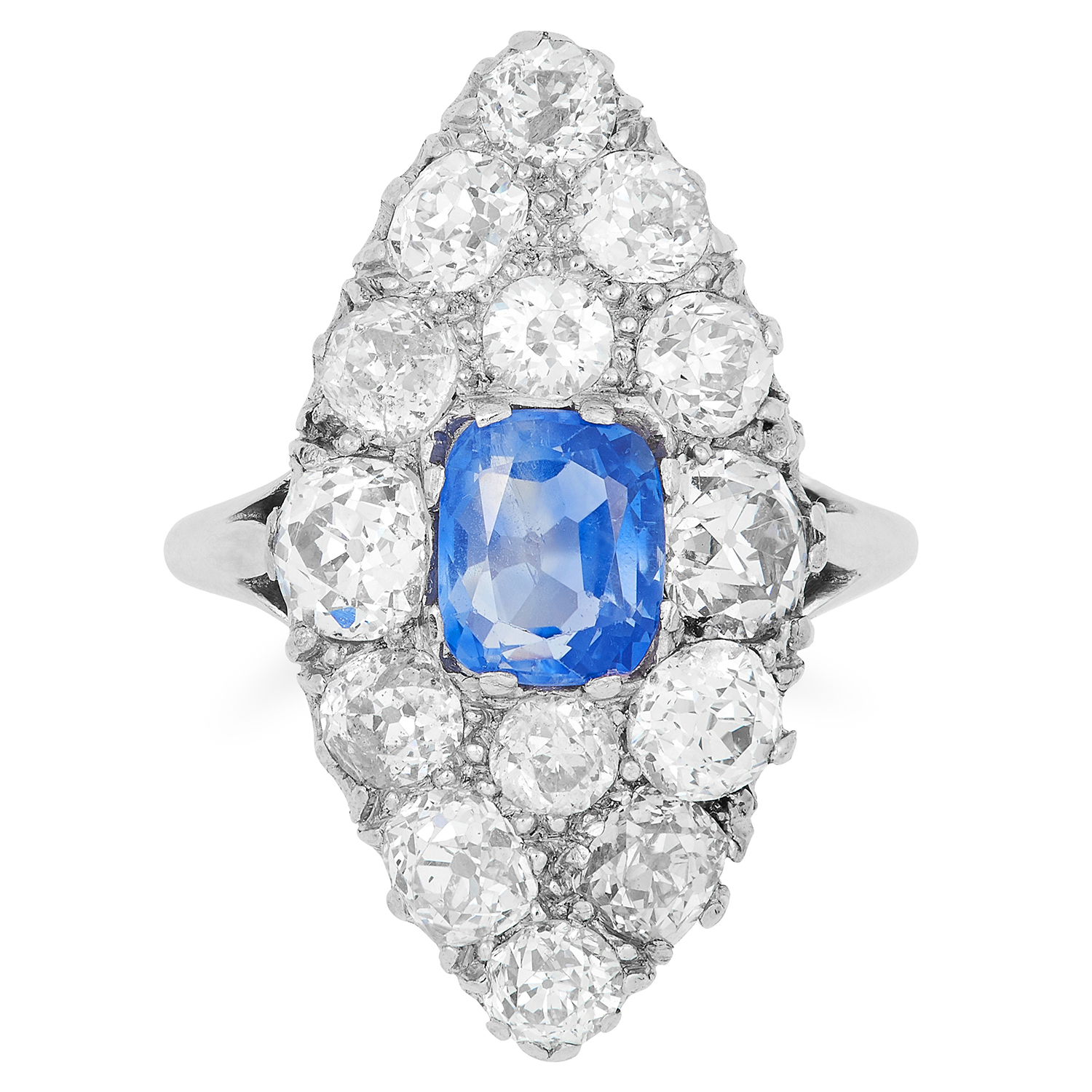 1.30 CARAT SAPPHIRE AND DIAMOND RING in marquise face is set with a cushion cut sapphire of