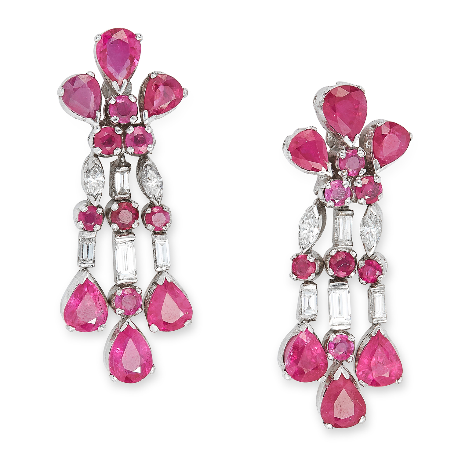 RUBY AND DIAMOND PENDENT EARRINGS set with rubies and diamonds, each suspending a trio of