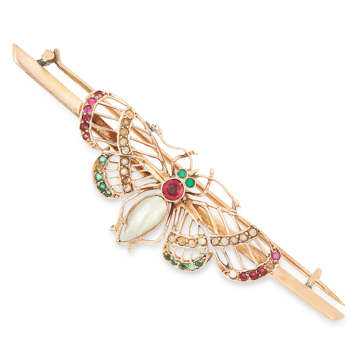 GEMSET BUTTERFLY BROOCH set with pearls, round cut rubies and emeralds, 6.7cm, 5.6g.