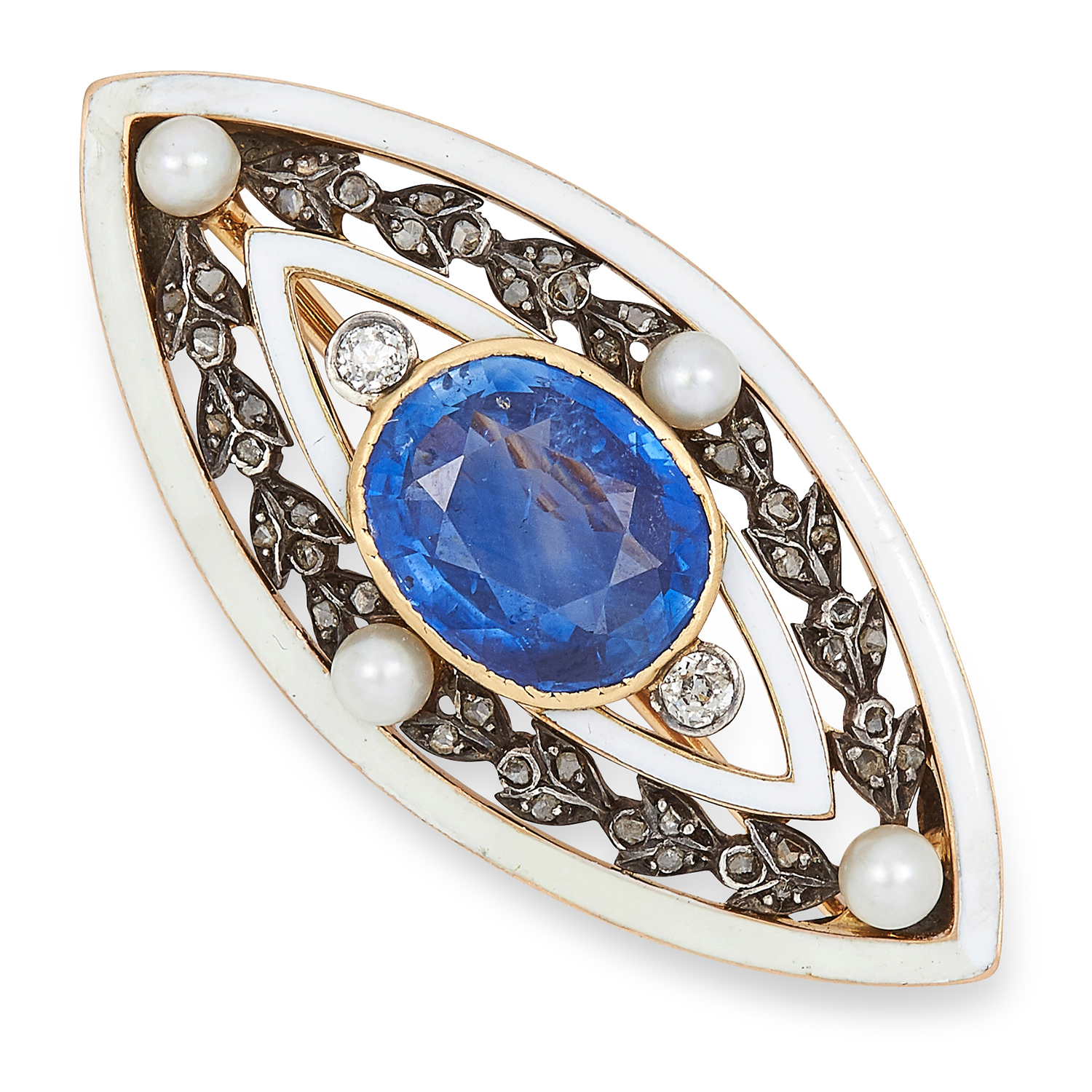 ANTIQUE SAPPHIRE, PEARL, DIAMOND AND ENAMEL BROOCH set with a cushion cut sapphire of