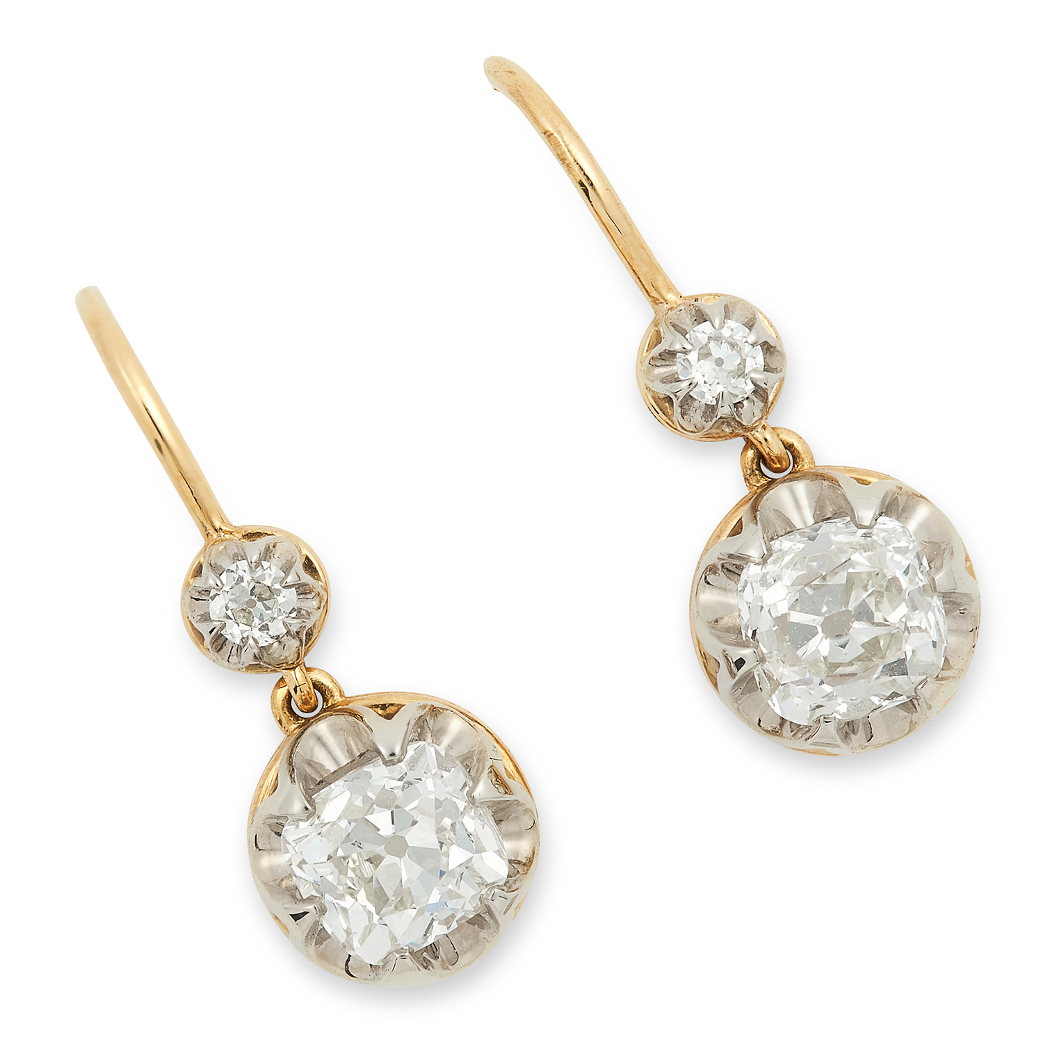 2.06 CARAT DIAMOND DROP EARRINGS each set with two old cut diamonds totalling approximately 2.06