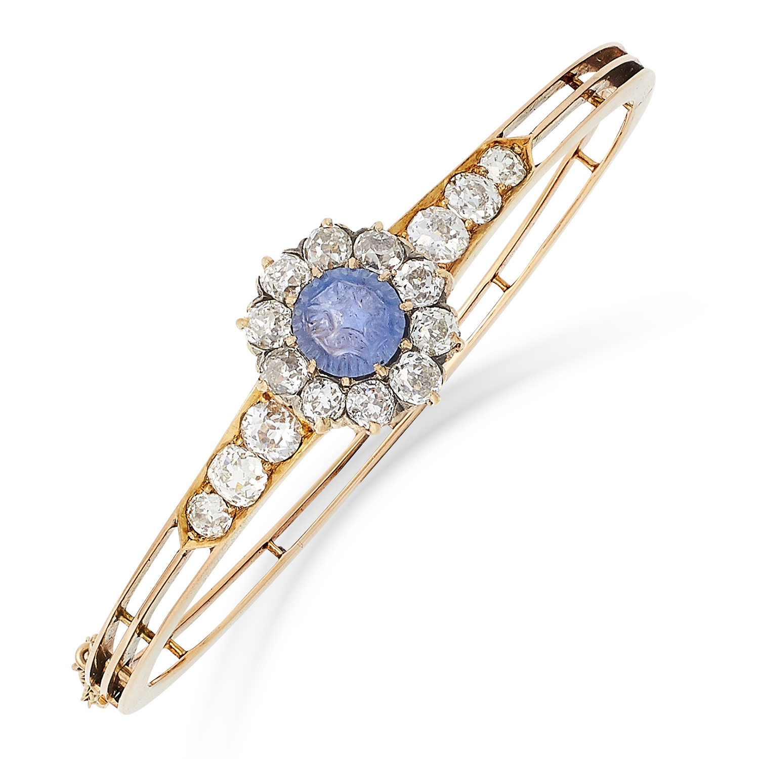 ANTIQUE SAPPHIRE AND DIAMOND BANGLE set with a Mughal carved sapphire and old cut diamonds totalling