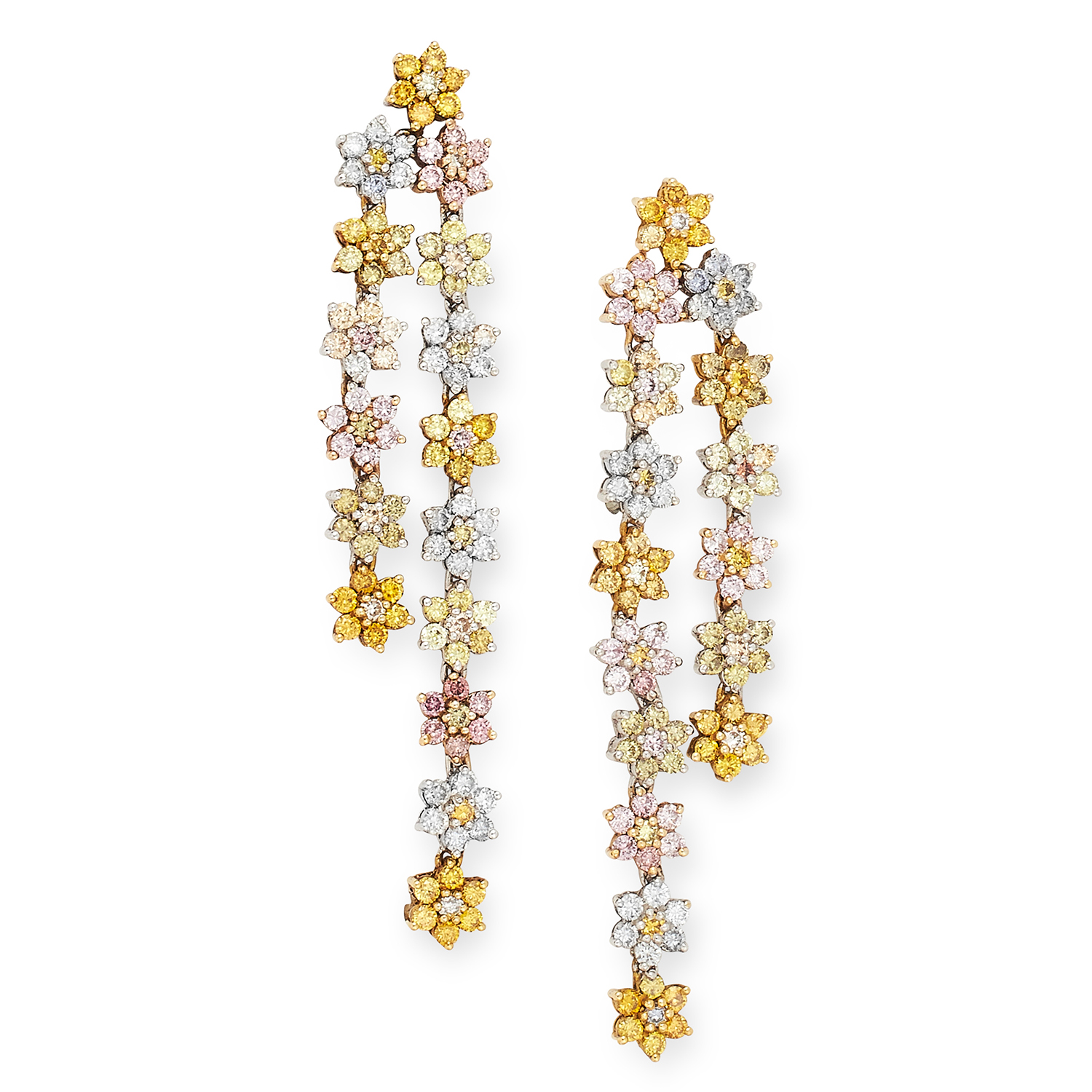 YELLOW, PINK AND WHITE DIAMOND DROP EARRINGS each set with a floral cluster of round cut yellow,