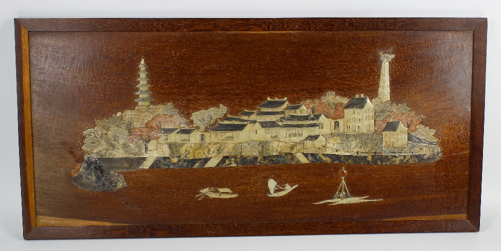Lot 166 - A 19th century Chinese carved soapstone and wooden panel. Depicting landscape scene in low relief