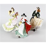 Six Royal Doulton figurines , HN3439 The Skater A/F, HN3477 Springtime A/F, HN3478 Summertime,