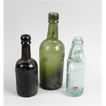 A box containing a collection of assorted glass bottles Staffordshire interest, to include
