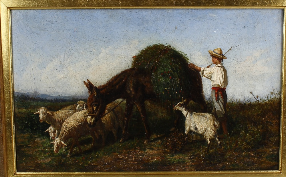 Lot 715 - Oil on canvas Continental harvest scene with young farmer beside donkey, goats and sheep Unsigned 21