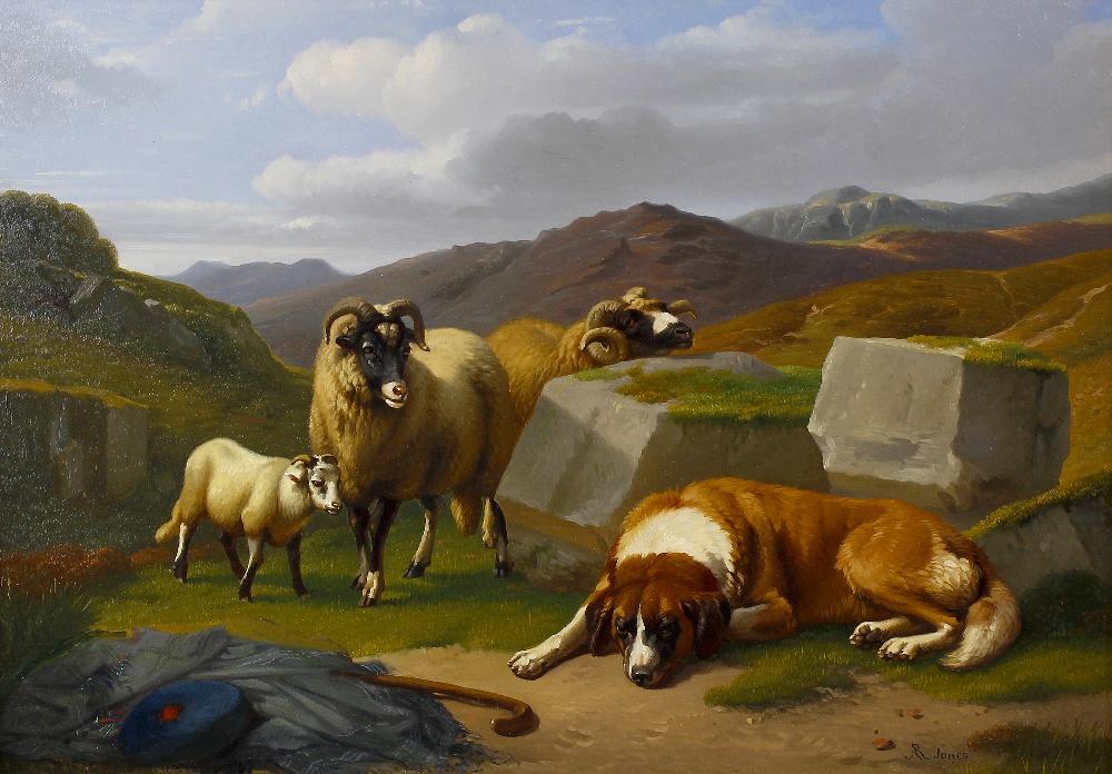 Lot 750 - Adolphe Robert Jones (Belgian, 1806-1874) Mountain scene with sleeping dog and sheep beside a pile