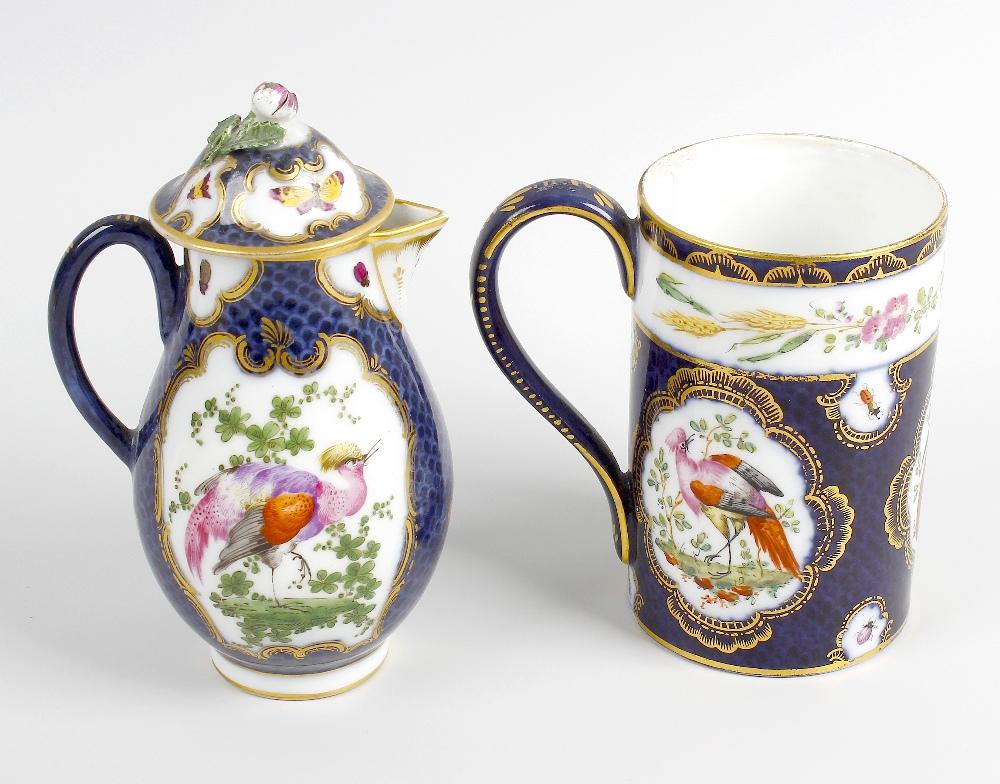 Lot 77 - A scale blue porcelain sparrow-beak lidded jug and mug. Probably Samson of Paris, 19th century in
