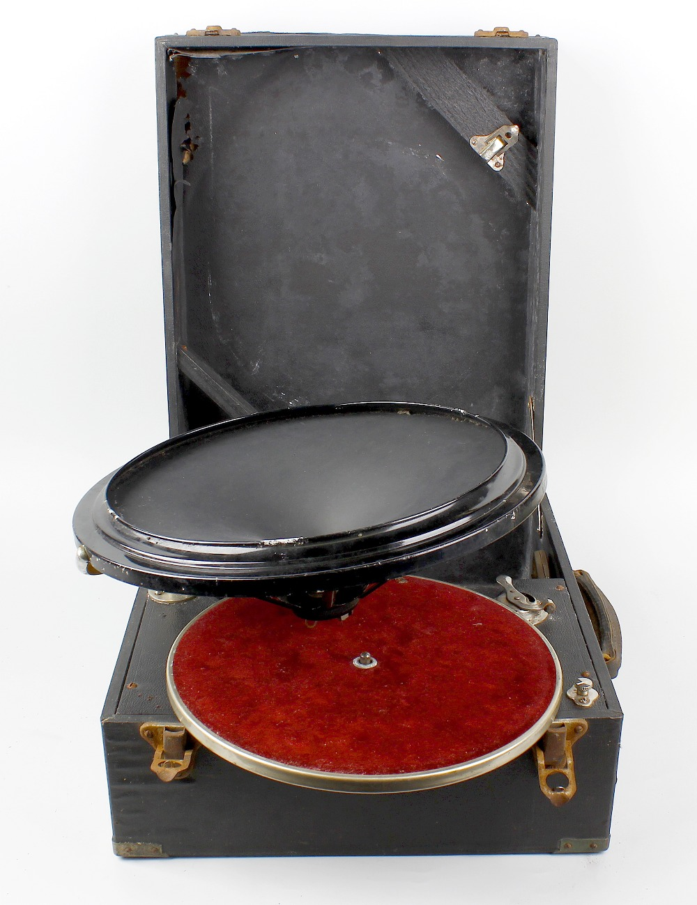 Lot 458 - A portable gramophone with Phonos speaker / playing head system, a 19th century rectangular box with