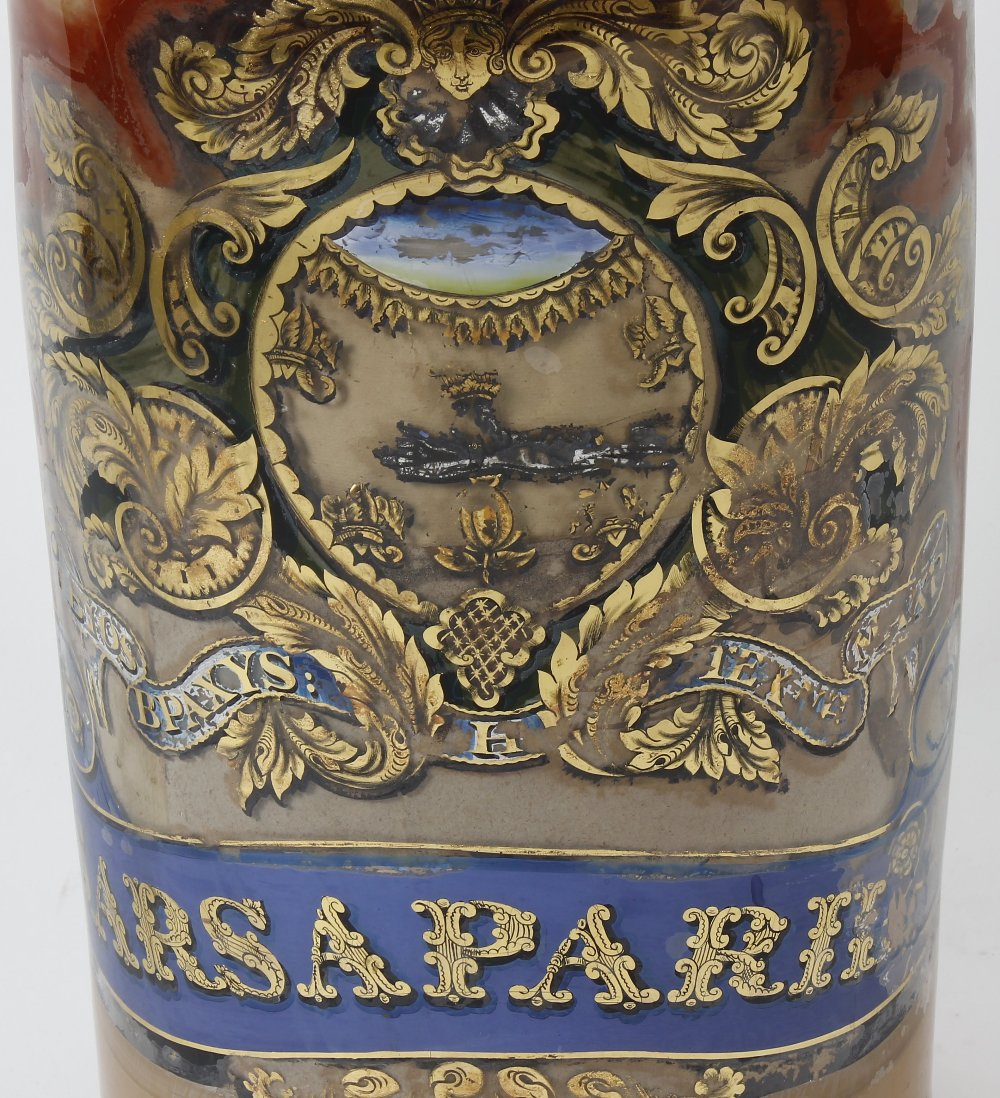 Lot 1 - A large and impressive late Victorian decorated glass Sarsaparilla jar, of cylindrical form with