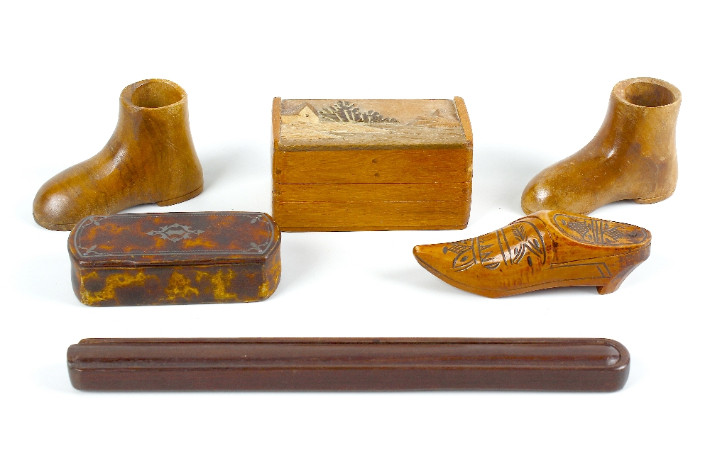Lot 419 - A selection of assorted wooden boxes. To include three inlaid vesta cases, two snuff boxes