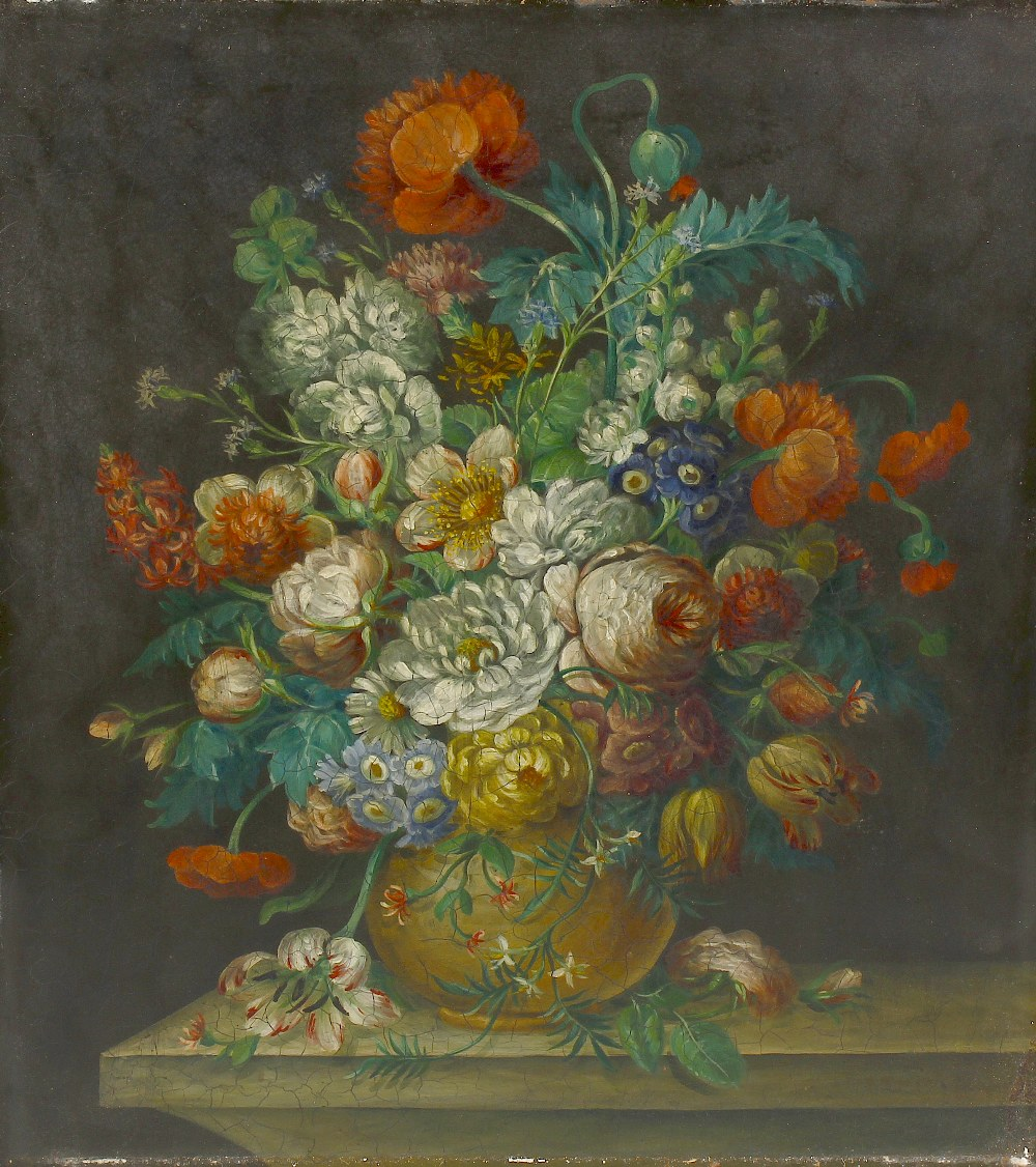 Lot 691 - Dutch School (19th century)Still life with vase of flowers Oil on copper Unsigned 15.5 x 13.5 (39.