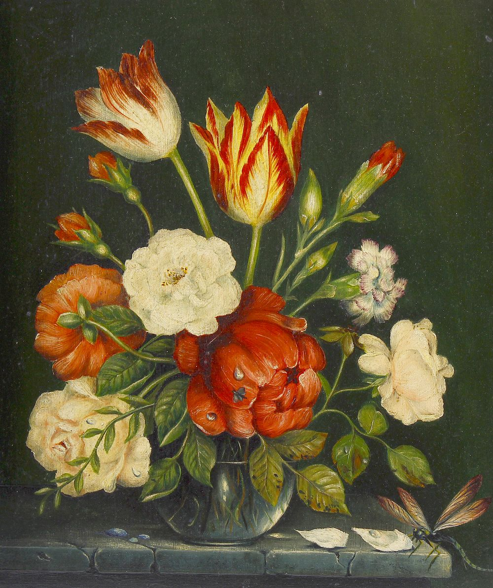 Lot 620 - A group of 20th century oil paintings. Still lives of flowers, to include a Dutch School example