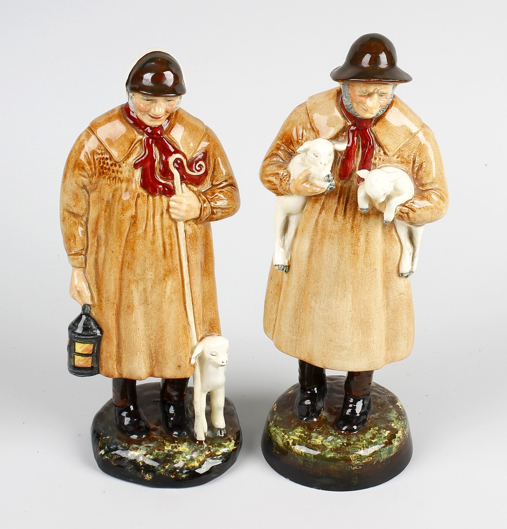 Lot 41 - A pair of Royal Doulton figures. 'The Shepherd' HN1975 and 'Lambing Time' HN1890, each modelled as a