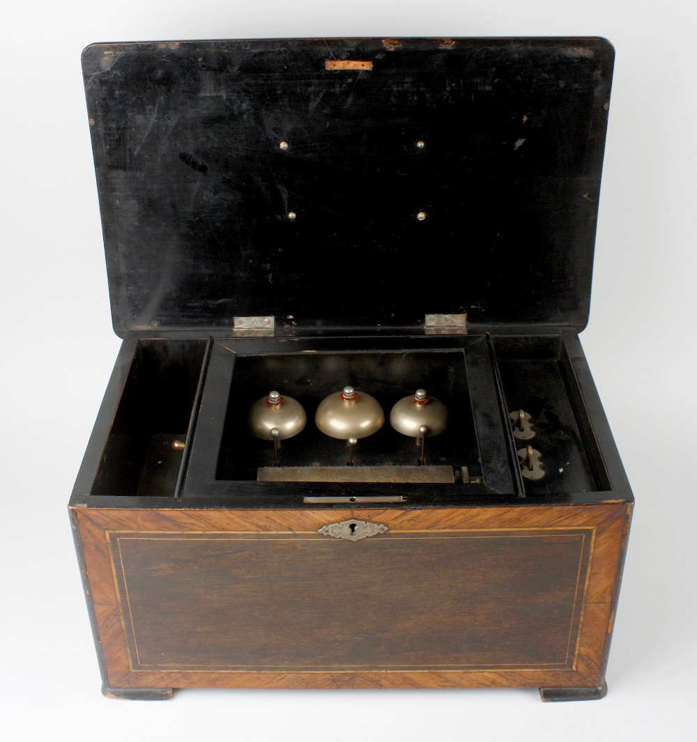 Lot 401 - A late 19th century inlaid 'bells in sight' cylinder music box, the 6-inch barrel with complete