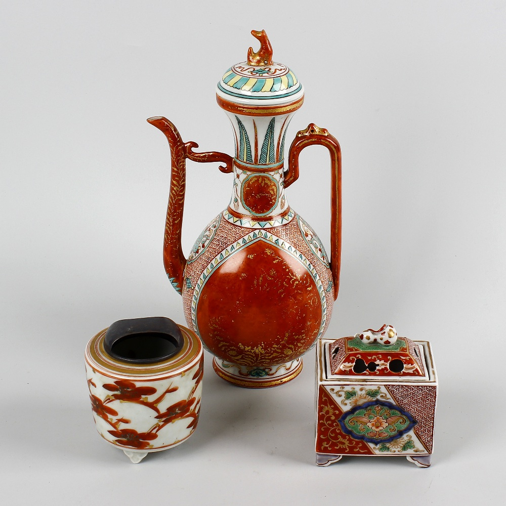 Lot 184 - A group of Japanese porcelain. To include an Indo-Persian style coffee pot of pear form with