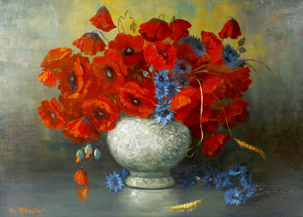 Lot 688 - Nando Chiappa (Italian, 20th century)Still life with vase of poppies Oil on boardSigned lower left27