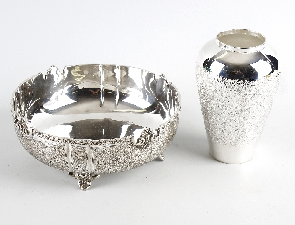 Lot 398 - A selection of continental silver, silver plate and metal items, to include a circular bowl having