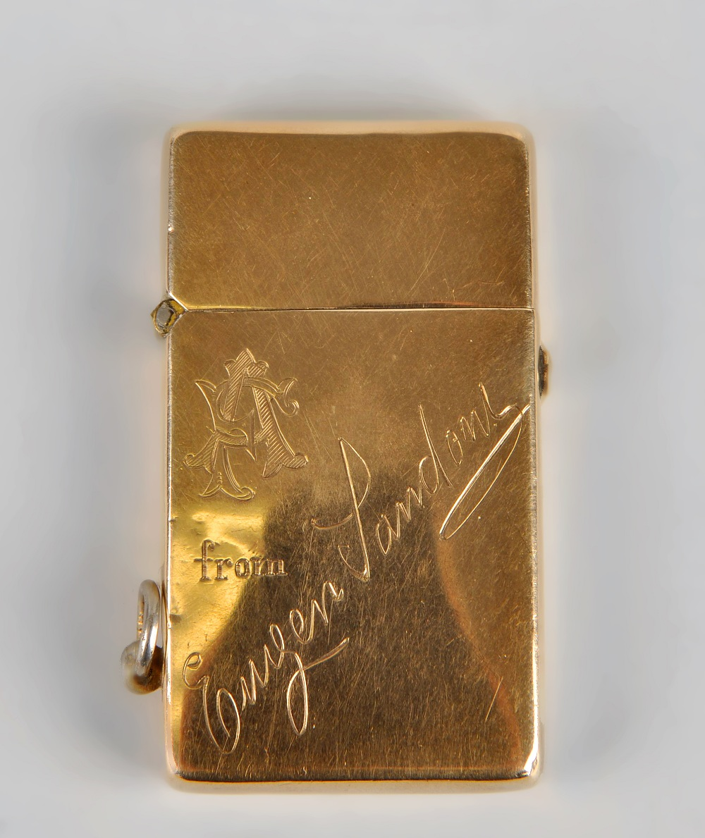 Lot 261 - A 9ct gold lighter, of plain rectangular form having engraved monogram and dedication to front,