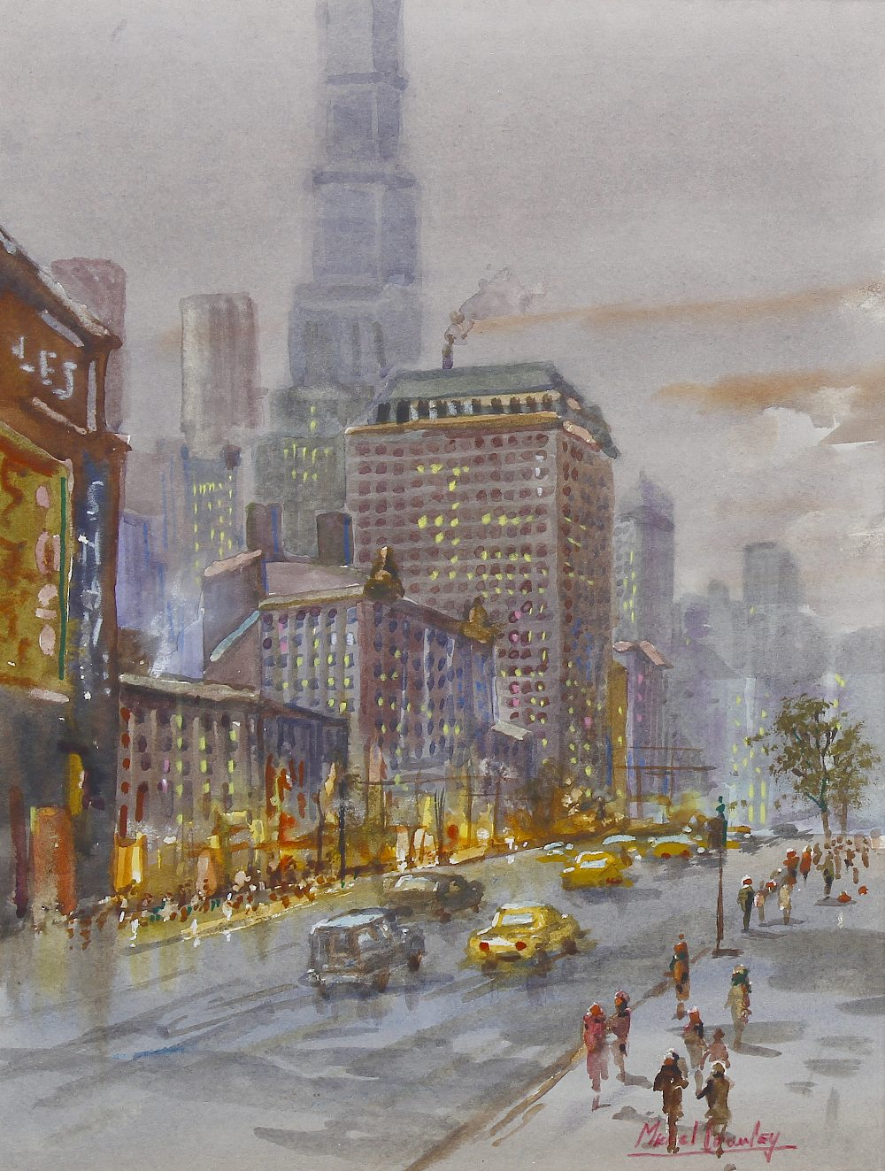 Lot 665 - Michael Crawley (Modern) Winter Broadway, New York Watercolour Signed to lower right hand corner