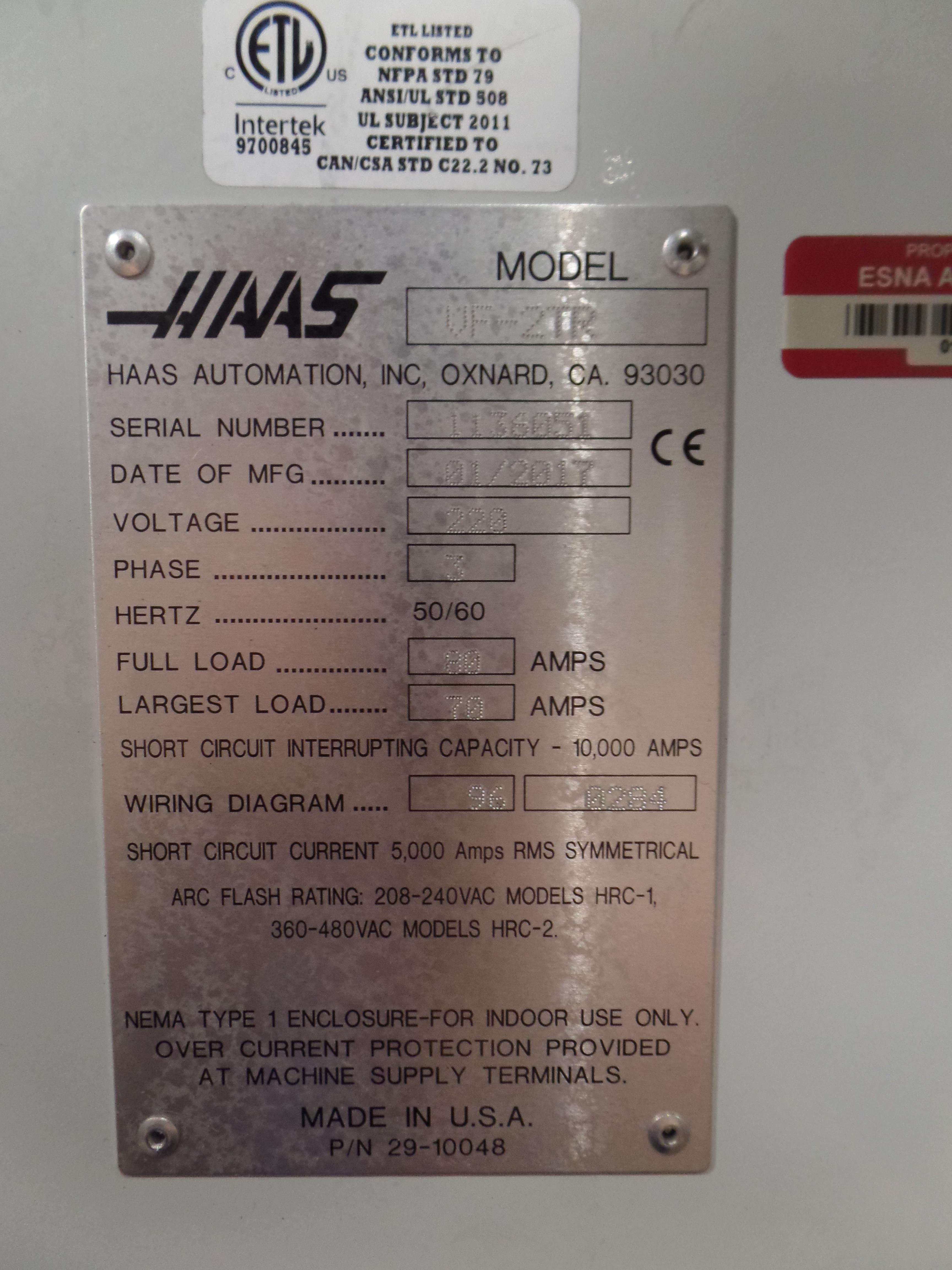 Haas VF-2 TR 5-Axis with Trunion Vertical Machining Center, Cat 40, 24 ATC, New 2017 - Image 9 of 9