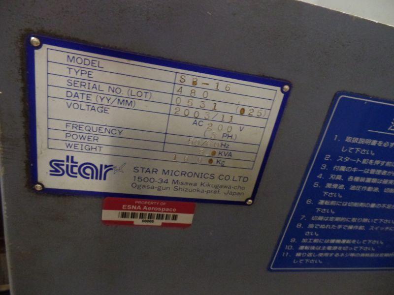 Star SB-16 CNC Swiss Type Automatic Lathe, Fanuc 18iTB Control, New 2003 - Image 5 of 7