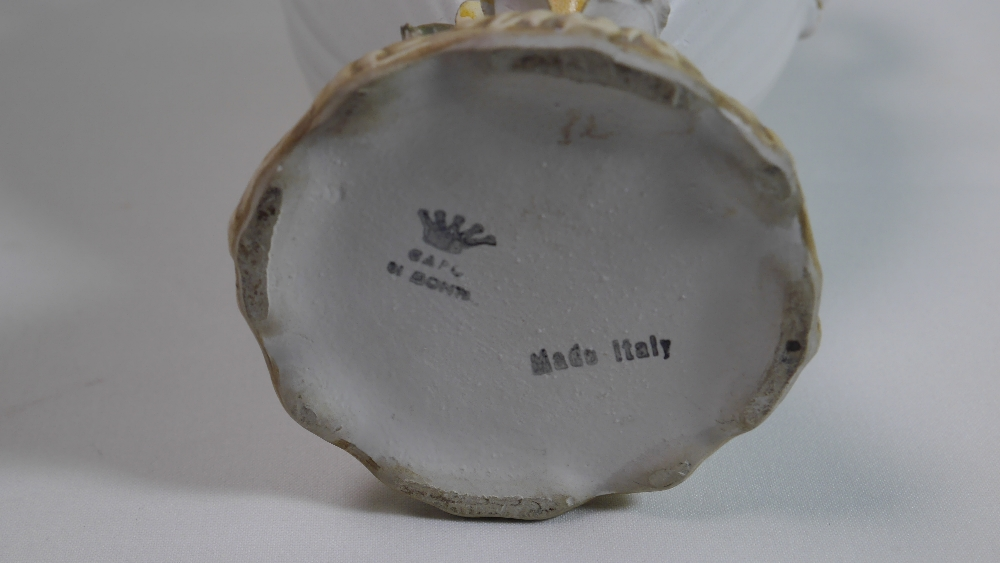 Lot 41 - Vintage Capodimonte Twin Handled Floral Ceramic Vase