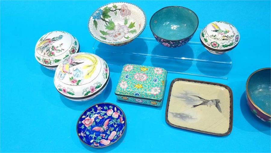 Lot 105 - Nine pieces of modern cloisonne.