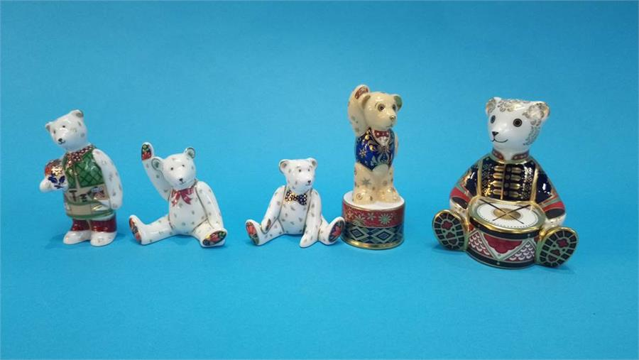 Lot 34 - Five Teddy Bear Royal Crown Derby paperweights.