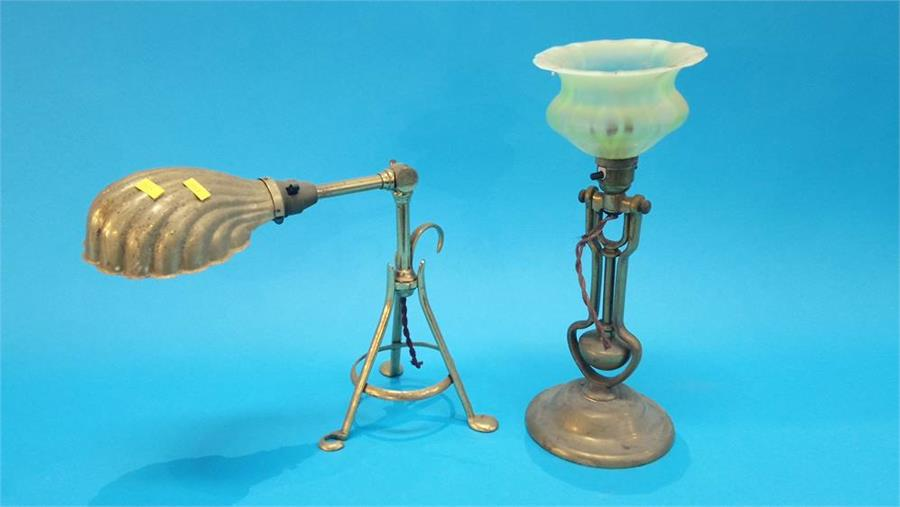 Lot 56 - Two angle poise brass lamps.