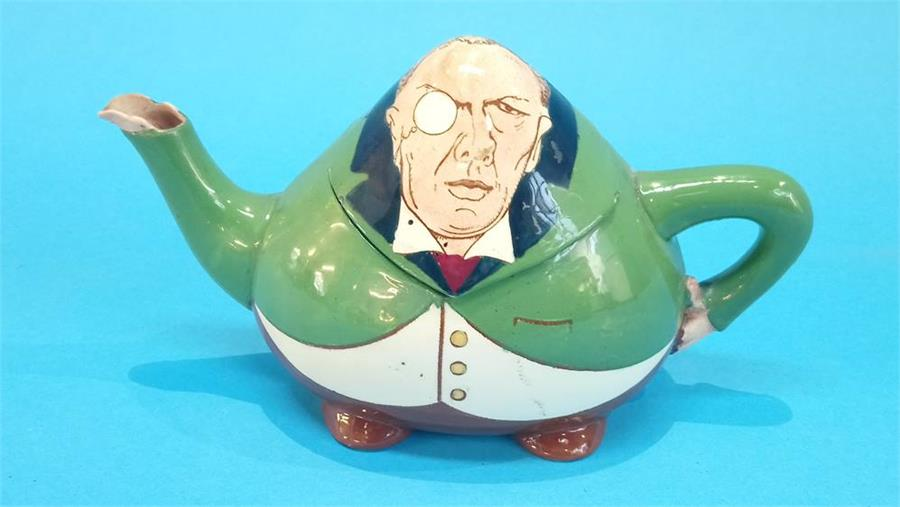 Lot 30 - A Foley Intarsio teapot in the form of a caricature of Joseph Chamberlain, rd 363131, printed