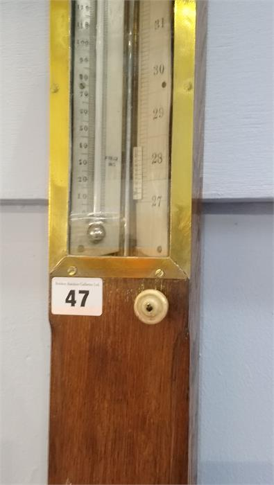 Lot 47 - An oak cased stick barometer by S.A. Cail of 42 and 43 Quayside, Newcastle Upon Tyne. 93cm long