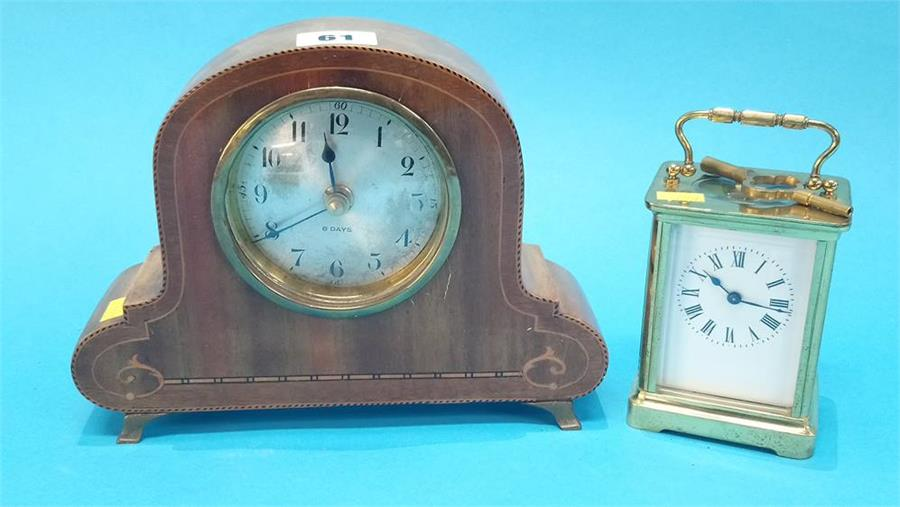 Lot 61 - A small carriage clock and an Edwardian mantel clock.