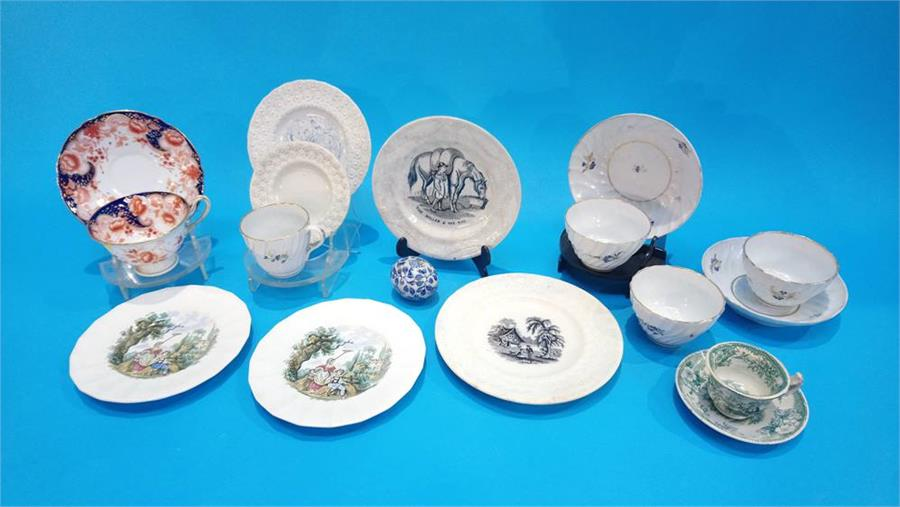 Lot 119 - A collection of 19th century pottery and porcelain and a Victorian blue and white egg.