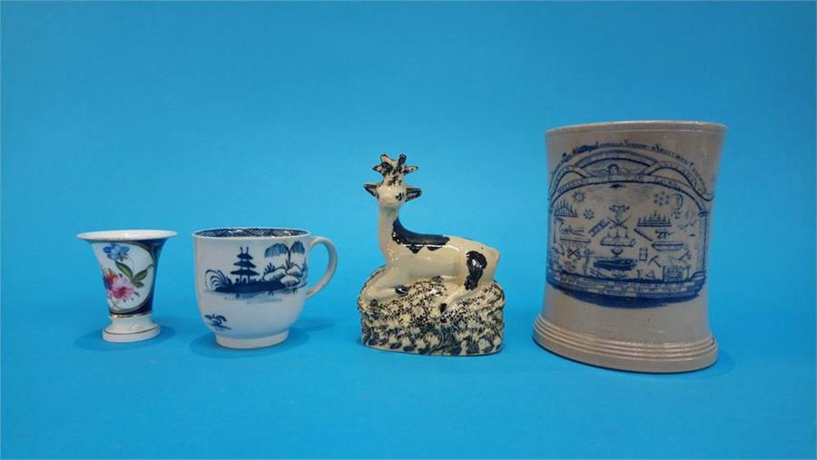 Lot 42 - A 19th Century Leeds Pottery tankard 'Holiness to the Lord', impressed marks to base, a small