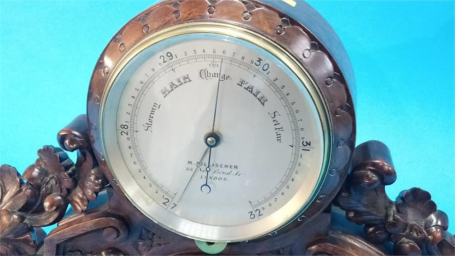 Lot 69 - A carved walnut desk barometer by M. Pillischer of 88 New Bond Street, London. 28 cm high 30 cm