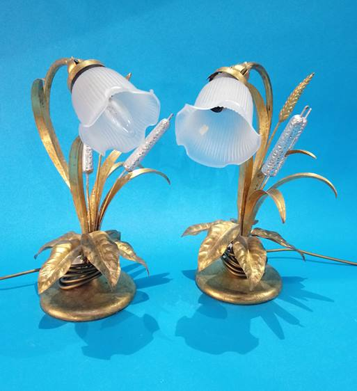 Lot 3 - Pair of modern gold coloured table lamps.
