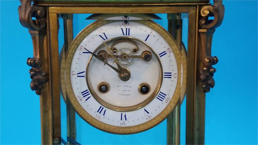 Lot 68 - A William Angus of 17 Lord Street, Liverpool four glass clock, with enamelled circular dial, 8 day