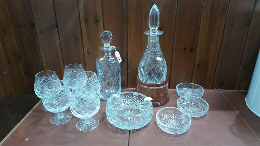 Lot 51 - Quantity of glassware and two decanters.