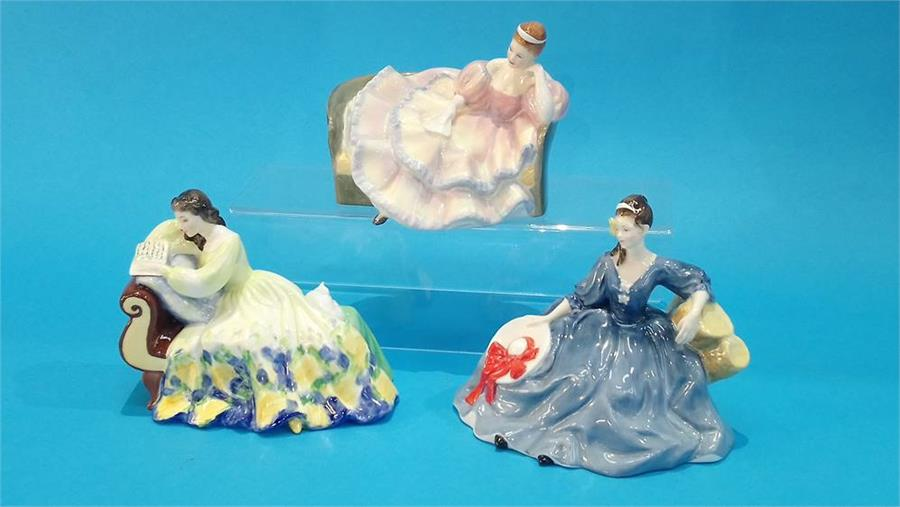 Lot 73 - Three Royal Doulton figurines of Ladies.