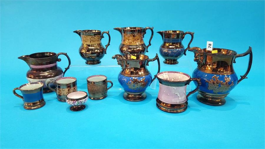 Lot 78 - Eleven pieces of Victorian copper lustreware