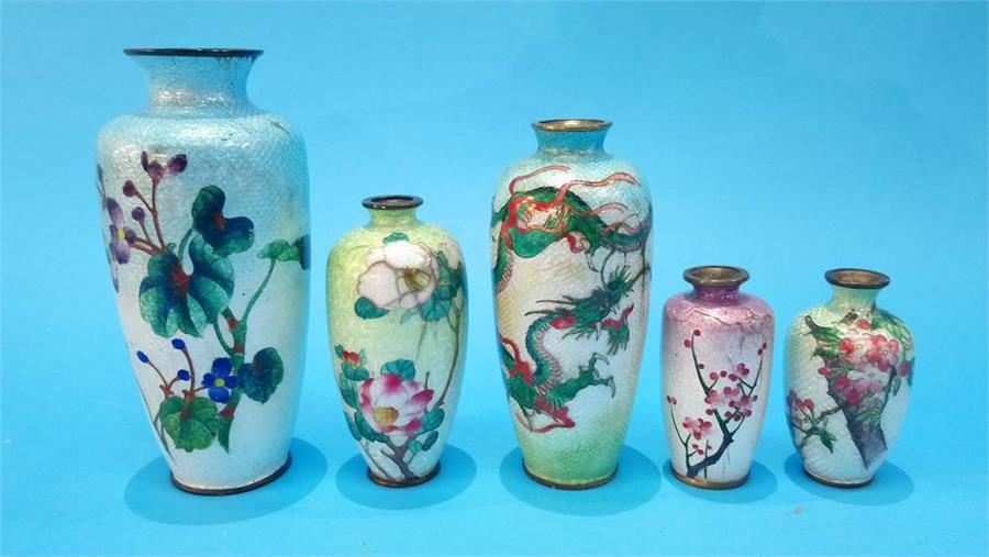 Lot 97 - Five various Japanese cloisonné vases.
