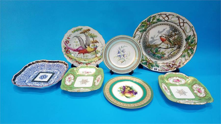 Lot 88 - A collection of Victorian plates to include; Longton, Worcester, Coalport etc.
