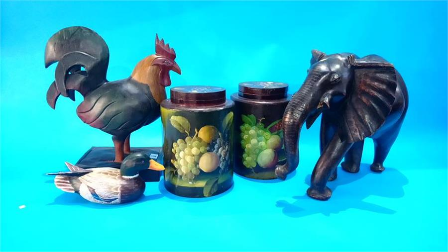 Lot 2 - Wooden elephant, rooster etc.