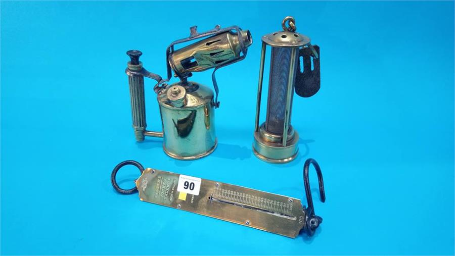 Lot 90 - A Miners lamp, Salter scales and a blow lamp.